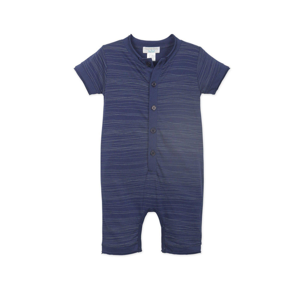 Henley Romper - Stripe-Baby Boy Apparel - Rompers-Feather Baby-0-3M-Eden Lifestyle
