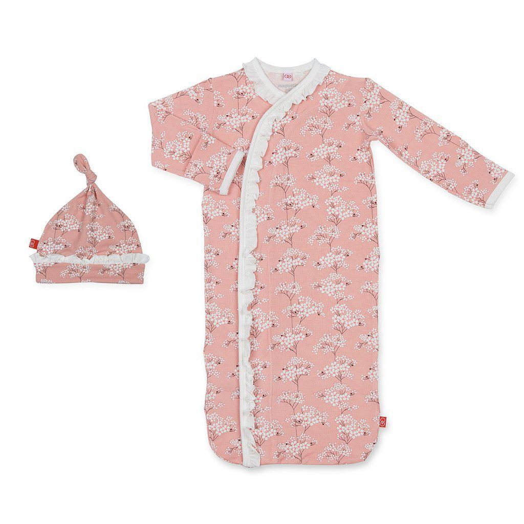 Magnetic Me by Magnificent Baby Cherry Blossom Modal Magnetic Sack Gown + Hat-Baby Girl Apparel - Pajamas-Magnificent Baby-Newborn-3M-Eden Lifestyle