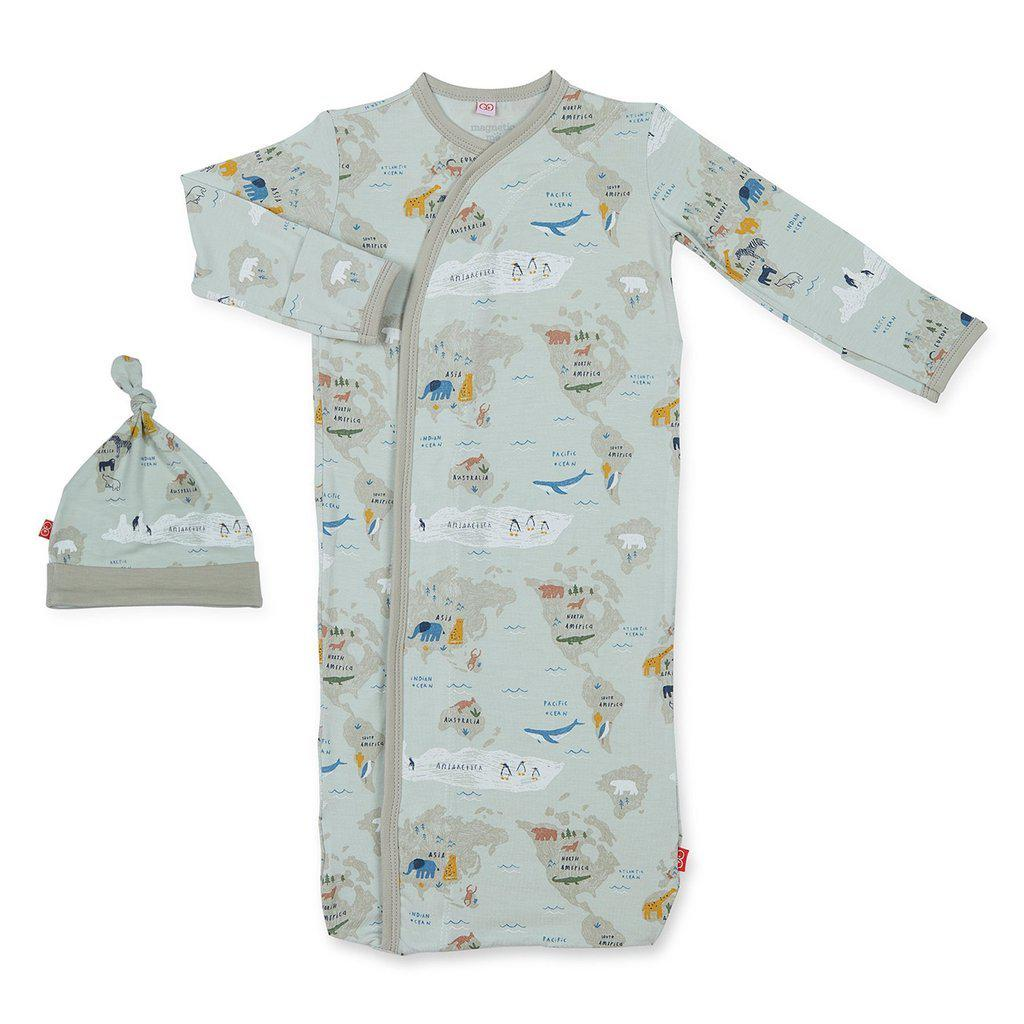 Magnetic Me by Magnificent Baby Sea the World Modal Magnetic Sack Gown + Hat-Baby Boy Apparel - Pajamas-Magnificent Baby-Newborn-3M-Eden Lifestyle