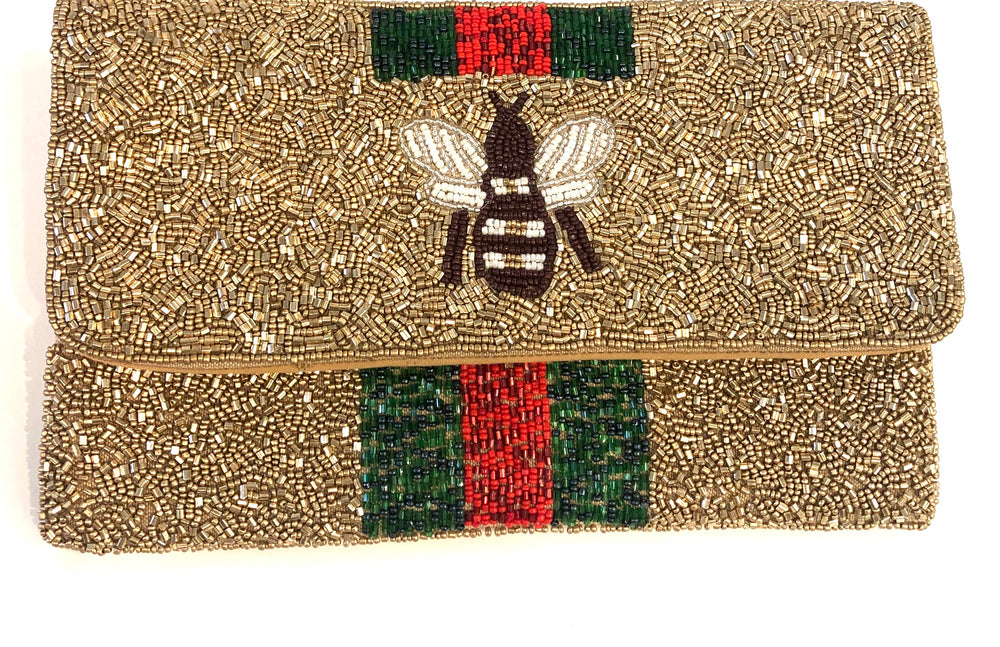 Small Beaded Bee Clutch