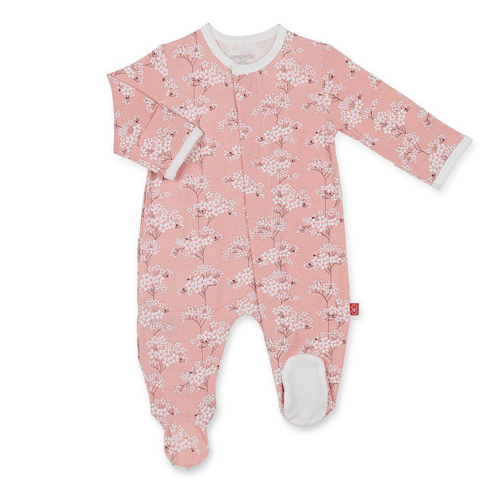 Magnetic Me by Magnificent Baby Cherry Blossom Model Magnetic Footie-Baby Girl Apparel - One-Pieces-Magnificent Baby-0-3M-Eden Lifestyle