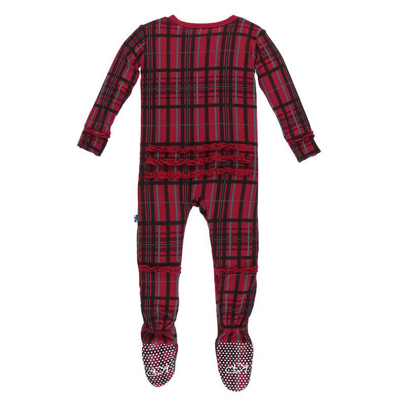 KicKee Pants, Baby Girl Apparel - Pajamas,  KicKee Pants - Holiday Muffin Ruffle Footie- Christmas Plaid
