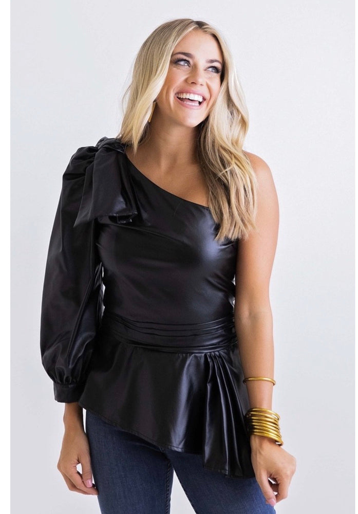 Karlie, Women - Shirts & Tops,  Black Solid Pleather Top