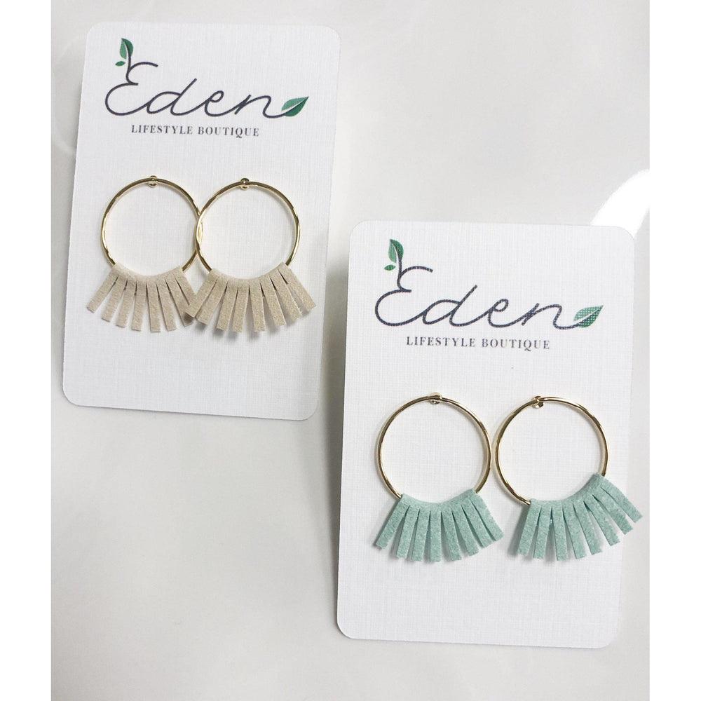 Modern Fringe Circle Earrings-Accessories - Jewelry-Eden Lifestyle-Ivory-Eden Lifestyle