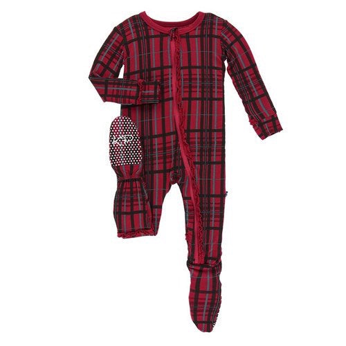 KicKee Pants - Holiday Muffin Ruffle Footie- Christmas Plaid