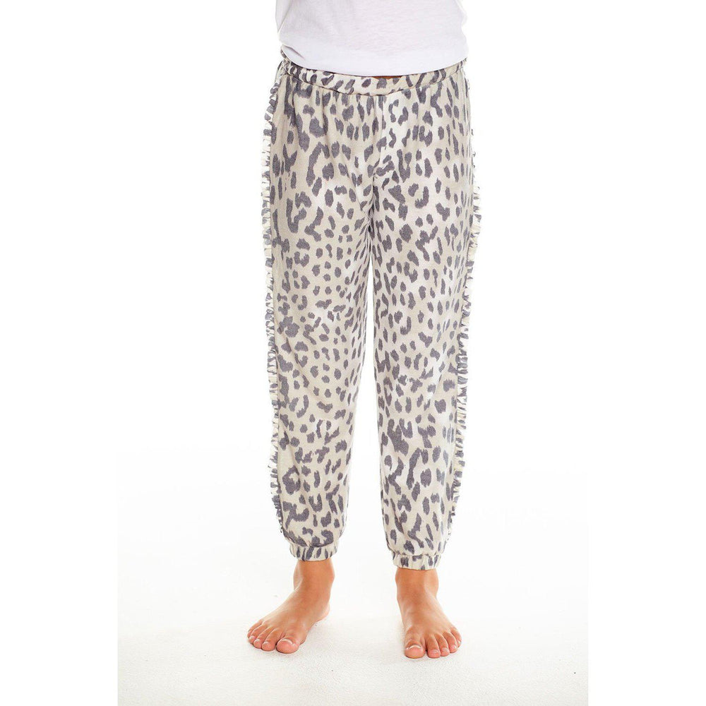 Chaser Girls Cozy Knit Slouchy Jogger w/ Ruffle Animal Print-Girl - Pants-Chaser-2-Eden Lifestyle
