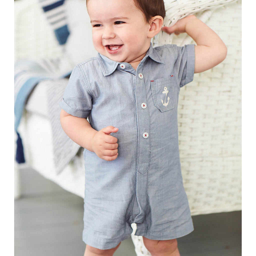 Hatley Chambray Anchor Baby Woven Romper-Baby Boy Apparel - Rompers-Hatley-3-6M-Eden Lifestyle