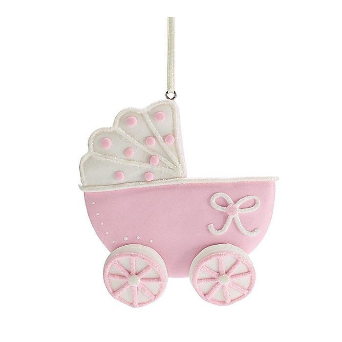 Eden Lifestyle, Gifts - Kids Misc,  Baby Carriage Ornament - Pink