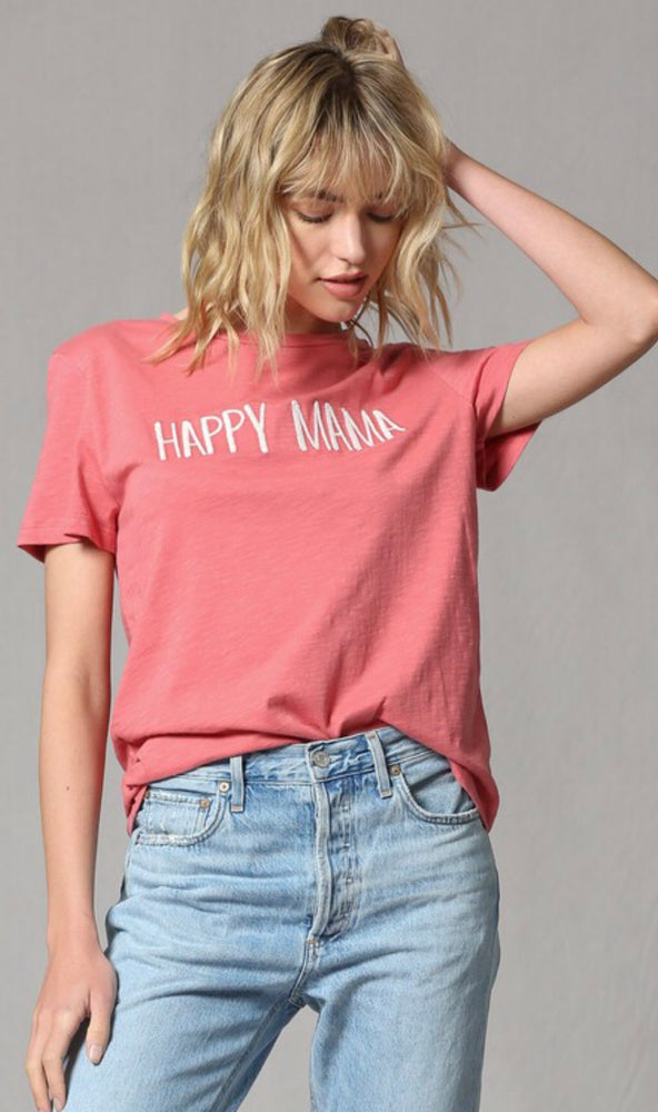 Eden Lifestyle, Women - Tees,  Happy Mama Embroidered Tee