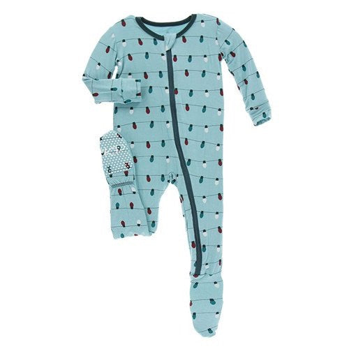 KicKee Pants - Holiday Footie - Glacier Holiday Lights-Baby Boy Apparel - One-Pieces-KicKee Pants-0-3M-Eden Lifestyle