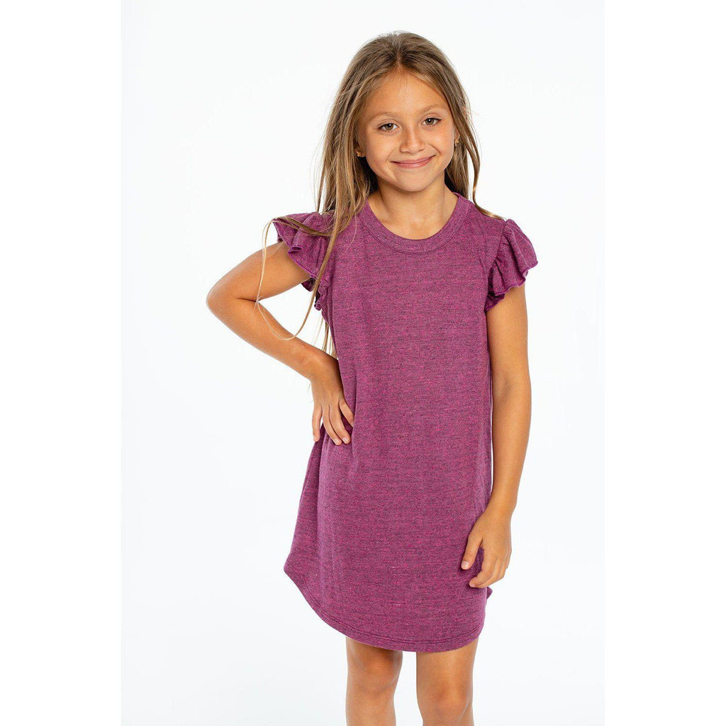 Chaser Girls Triblend Flutter Sleeve Dress-Girl - Dresses-Chaser-4-Eden Lifestyle