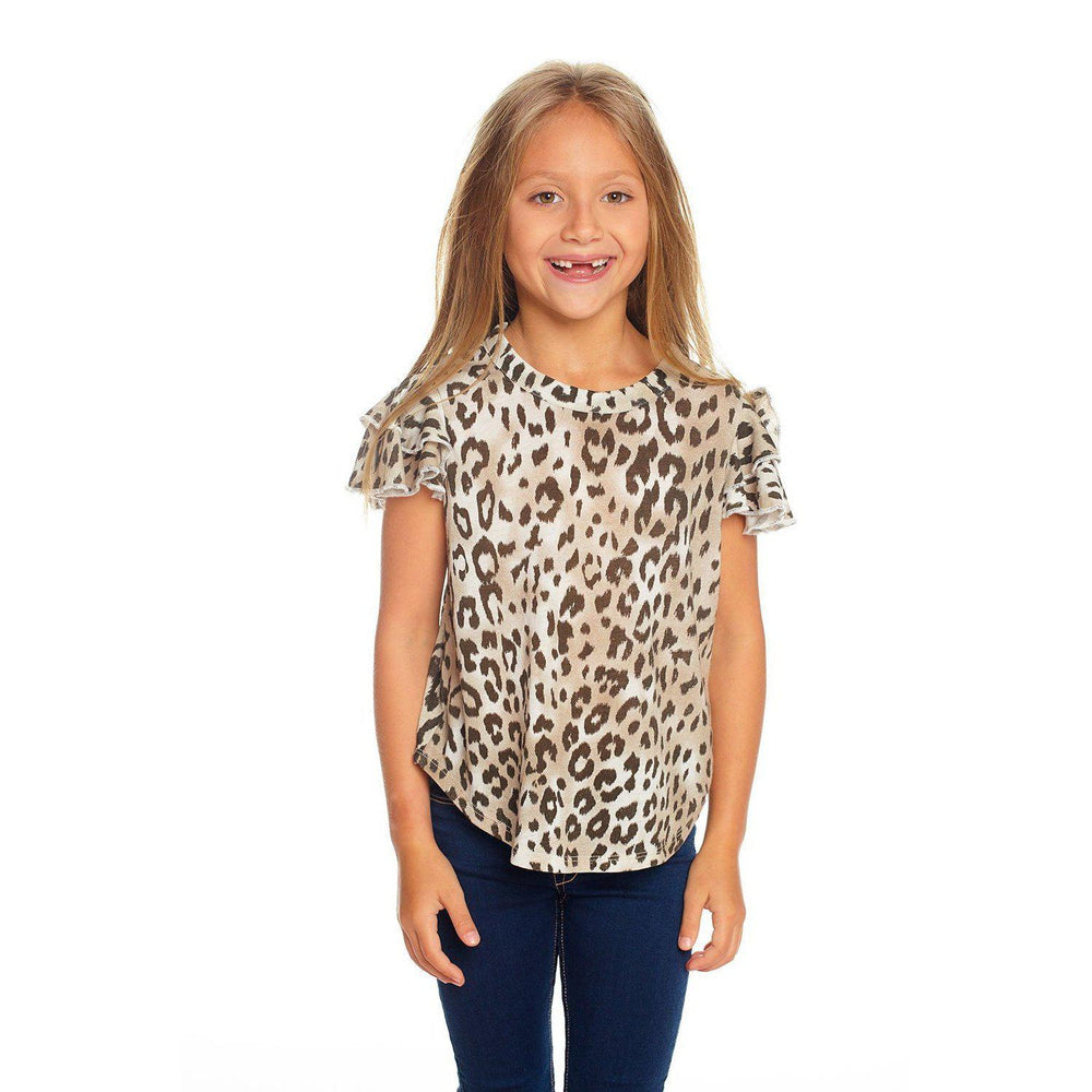 Chaser, Girl - Shirts & Tops,  Chaser Girls Vintage Jersey Flutter Sleeve Shirttail Muscle Tee in Animal Print