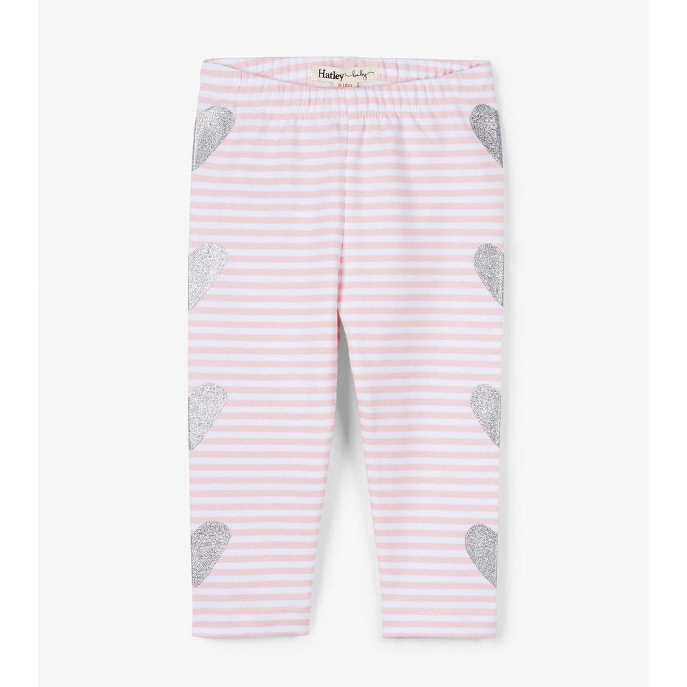 Hatley Shimmer Hearts Baby Leggings-Baby Girl Apparel - Leggings-Hatley-6-9M-Eden Lifestyle