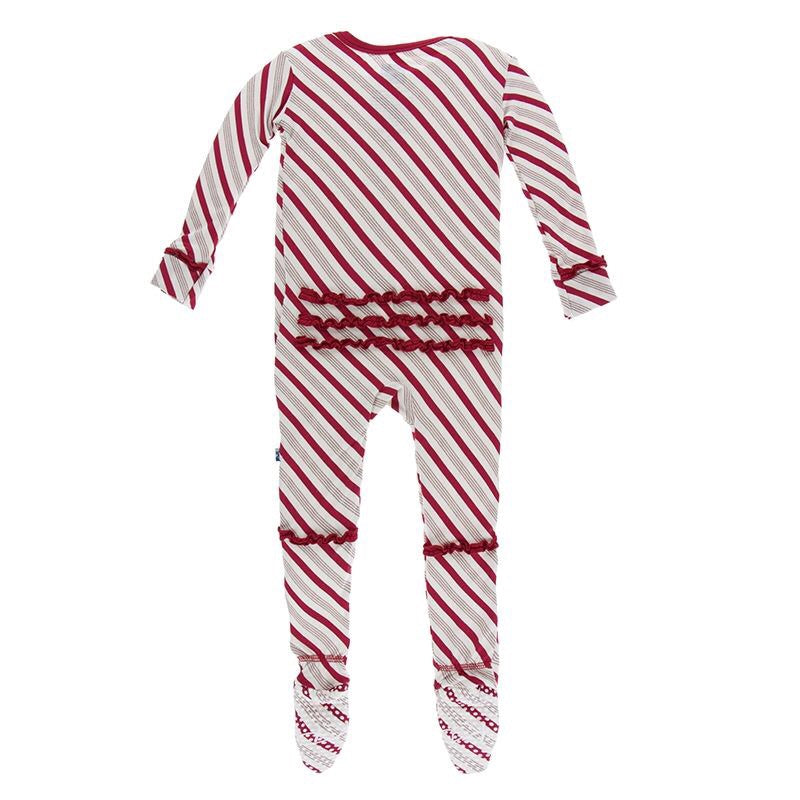Kickee Pants Holiday Muffin Ruffle Footie w/Zipper - Rose Gold Candy Cane Stripe