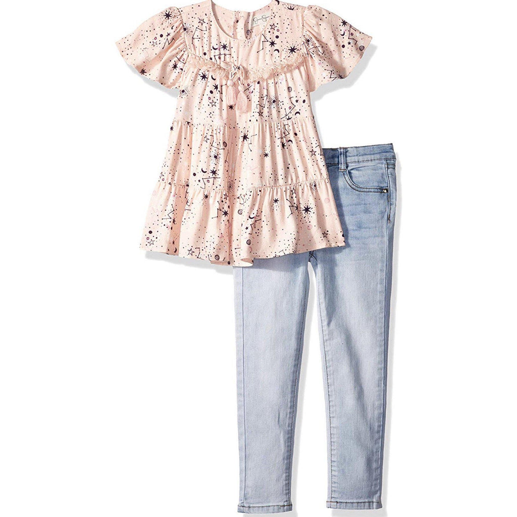 Jessica Simpson Peach Constellation Girls Set-Baby Girl Apparel - Outfit Sets-Jessica Simpson-2-Eden Lifestyle
