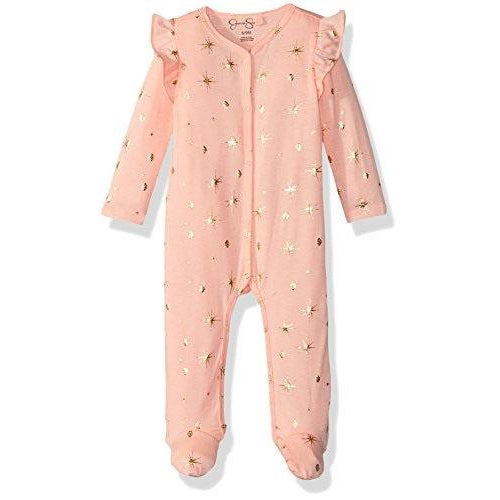 Jessica Simpson Baby Tropical Peach Footie-Baby Girl Apparel - One-Pieces-Jessica Simpson-0-3M-Eden Lifestyle