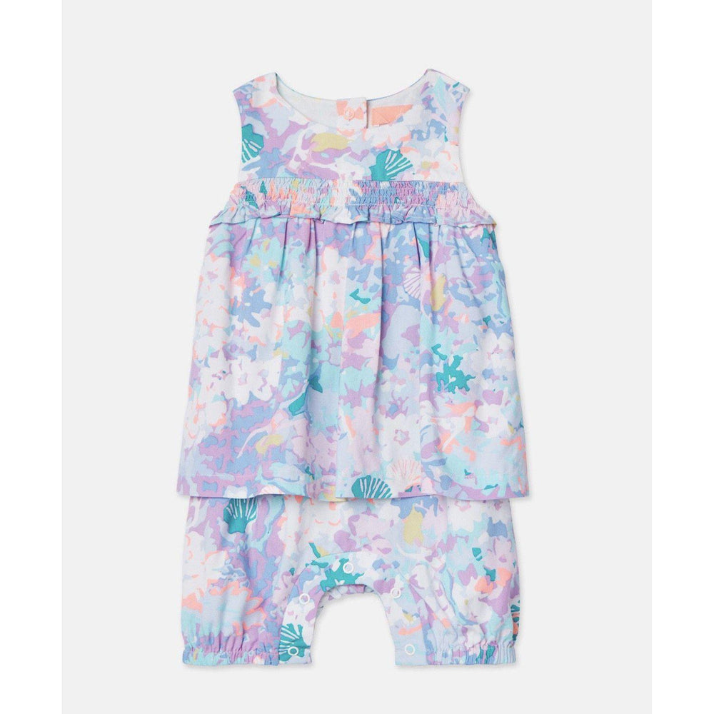 Joules Uma Blue Mermaid Ditsy Babygrow Romper-Baby Girl Apparel - One-Pieces-Joules-0-3M-Eden Lifestyle