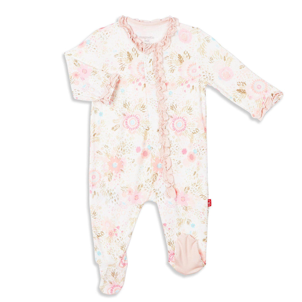Magnificent Baby, Baby Girl Apparel - Rompers,  Magnet Me In Full Bloom Modal Magnetic Footie