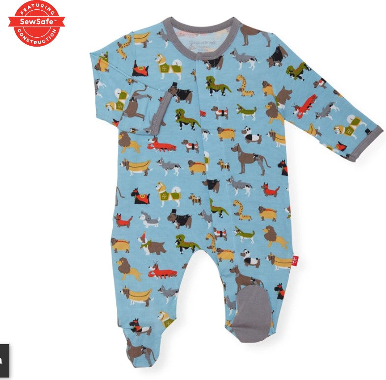 Magnificent Baby, Baby Boy Apparel - Pajamas,  Magnetic Me in-dog-nito modal magnetic footie