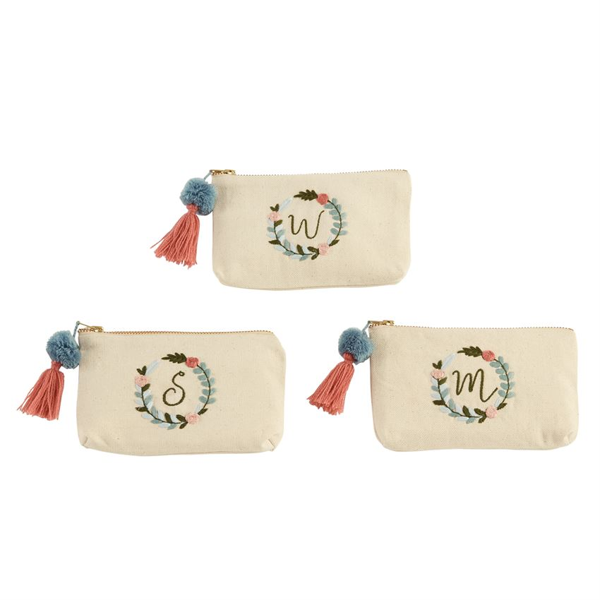 Mud Pie - Initial Embroidered Pouch