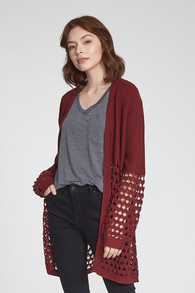 Another Love, Women - Outerwear,  Joan Mixed Knit Cardigan - Bordeaux