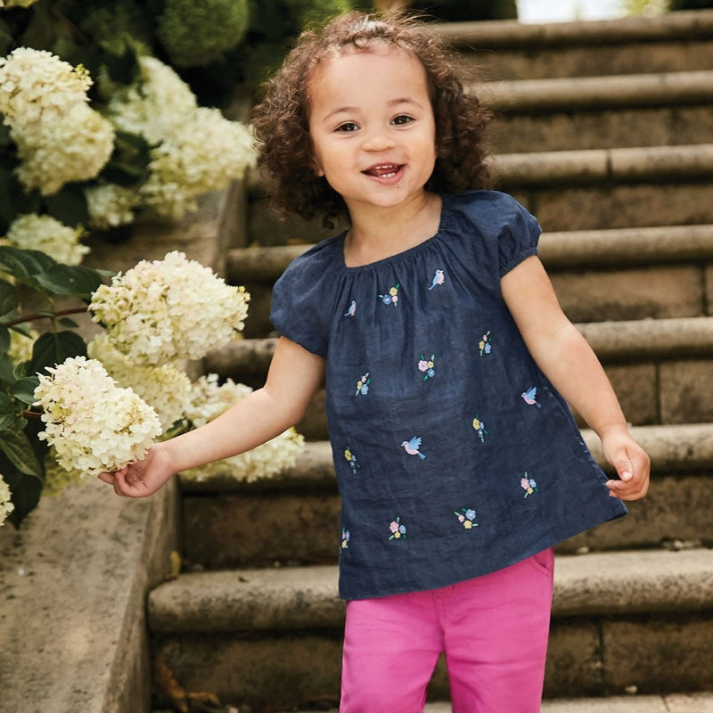 Jojo Maman Bebe Chambray Bird Embroidered Top-Girl - Shirts & Tops-Jojo Maman Bebe-2-3Y-Eden Lifestyle