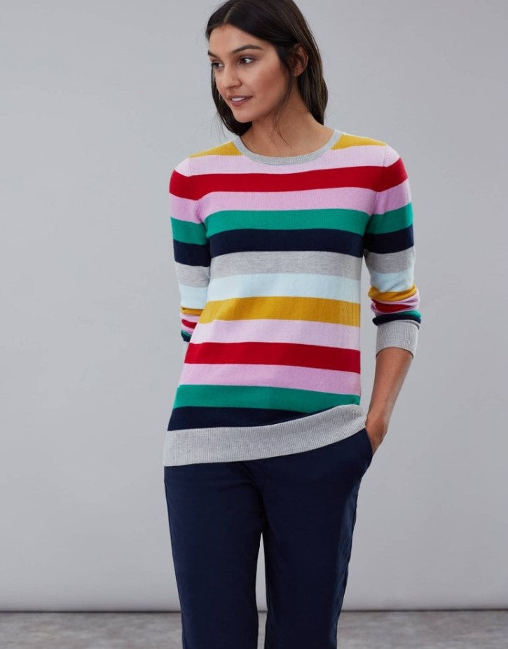 Joules Asha Crew Neck Rainbow Stripe Sweater