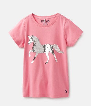 Joules Astra Pink Sequin Horse Applique Tee