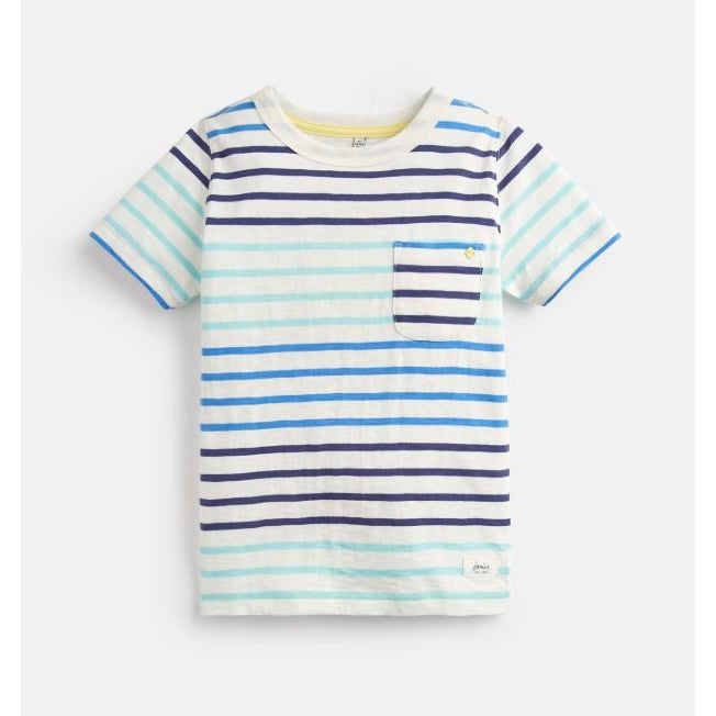 Caspian Stripe T-Shirt - Cream Blue Stripe-Boy - Tees-Joules-4Y-Eden Lifestyle