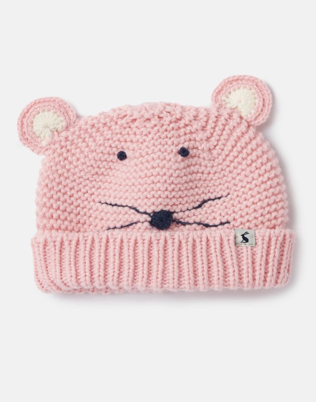 Joules Chummy Knitted Character Hat - Pale Pink Mouse