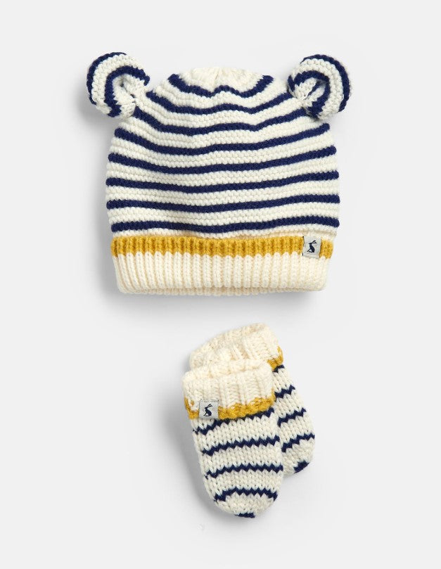 Joules, Accessories - Gloves & Mittens,  Joules Cute Cream Navy Stripe Hat and Mitten Set