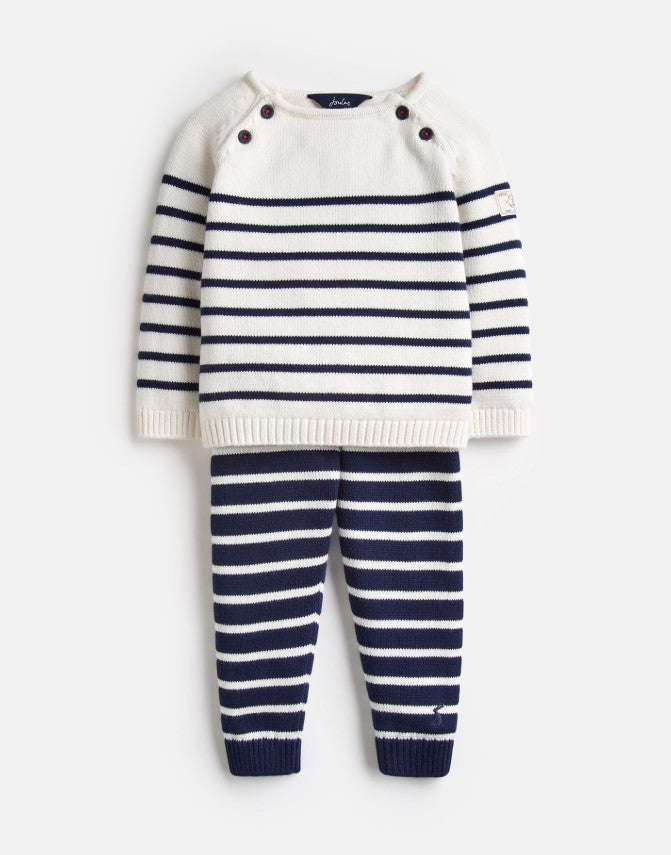 Joules George Navy Cream Stripe Knitted Top and Pants Set