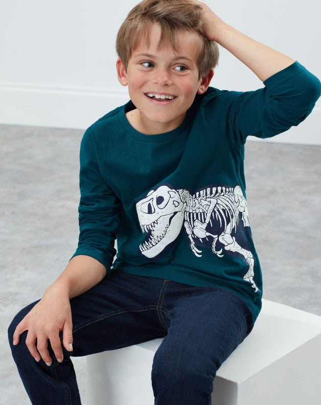 Raymond Glow in the Dark Green Dino Skeleton Tee