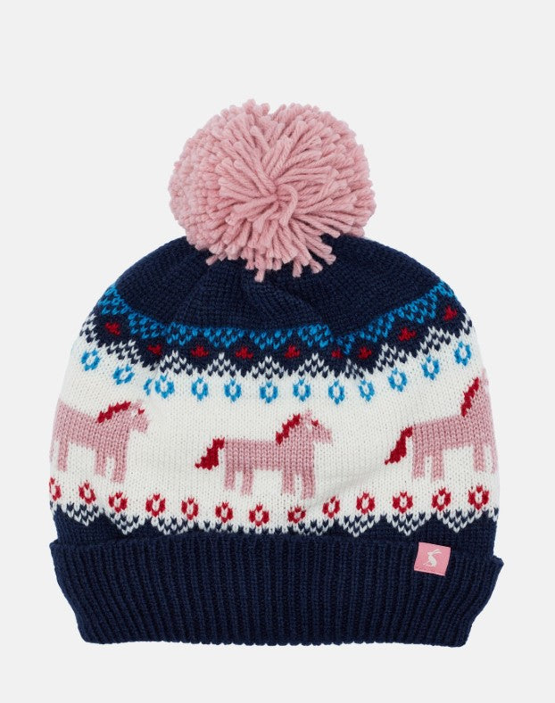 Fallbury Navy Unicorn Fairisle Hat
