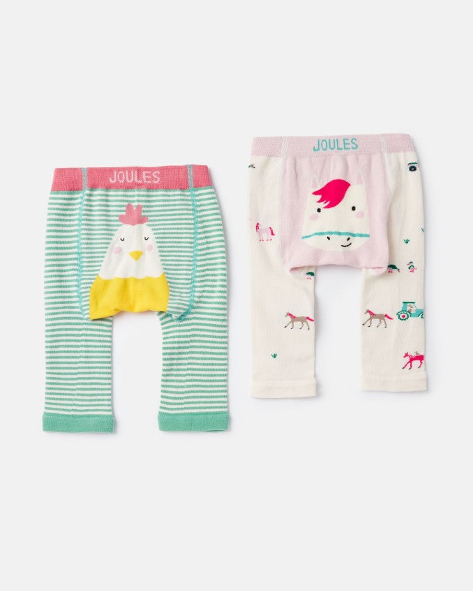 Joules, Baby Girl Apparel - Leggings,  Joules Lively Multi Chick Horse 2 Pack Intarsia Legging