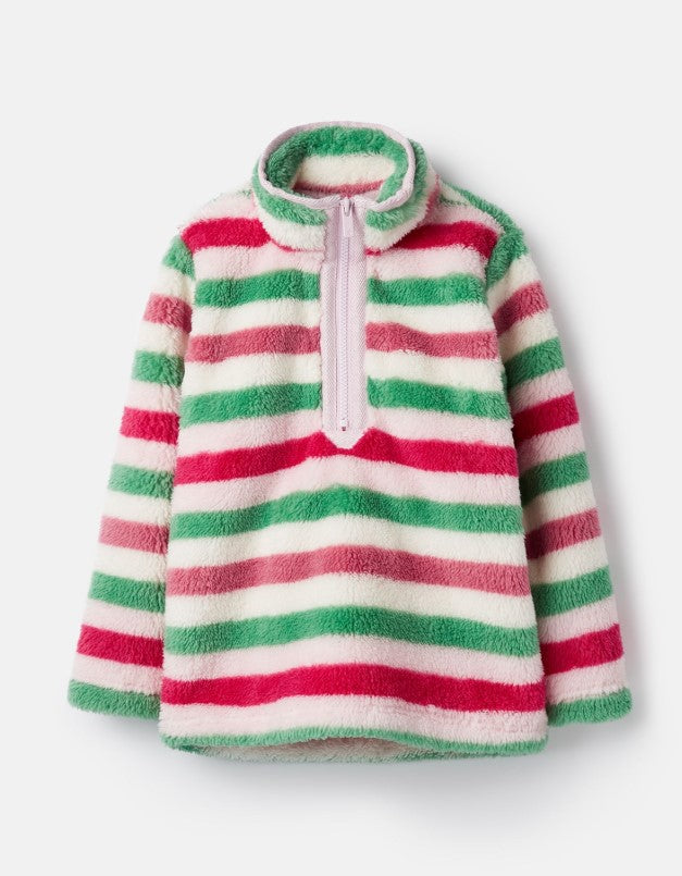 Joules Merridie Pink Stripe Half Zip Fleece