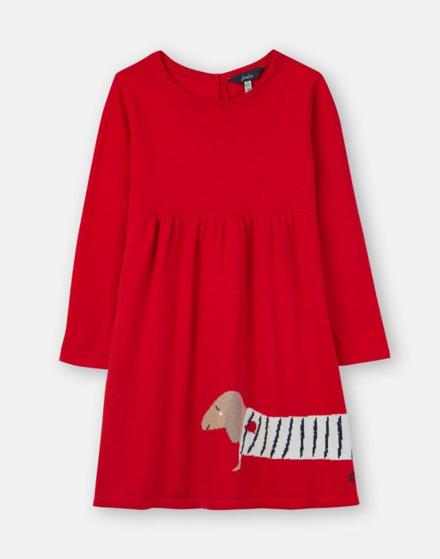Joules, Girl - Dresses,  Joules Millicent Red Sausage Dog Knitted Dress