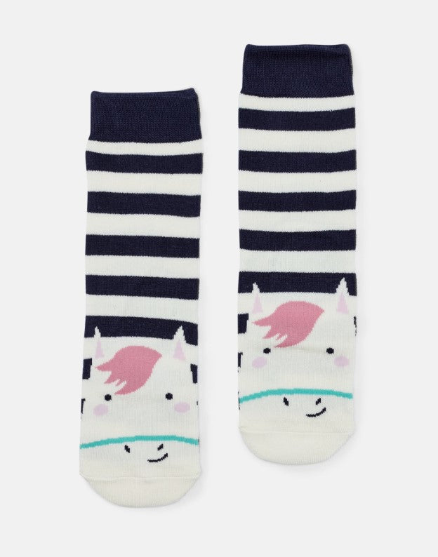 Joules Neat Feet Navy Stripe Horse Character Socks