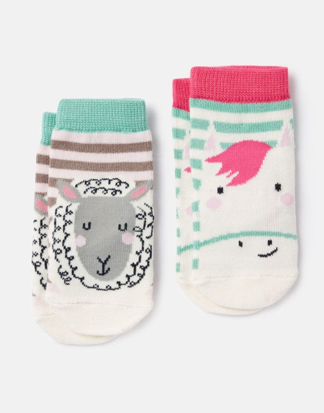 Joules Neat Feet Pink Horse Sheep 2 Pack Character Socks