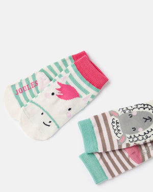 Joules, Accessories - Socks,  Joules Neat Feet Pink Horse Sheep 2 Pack Character Socks