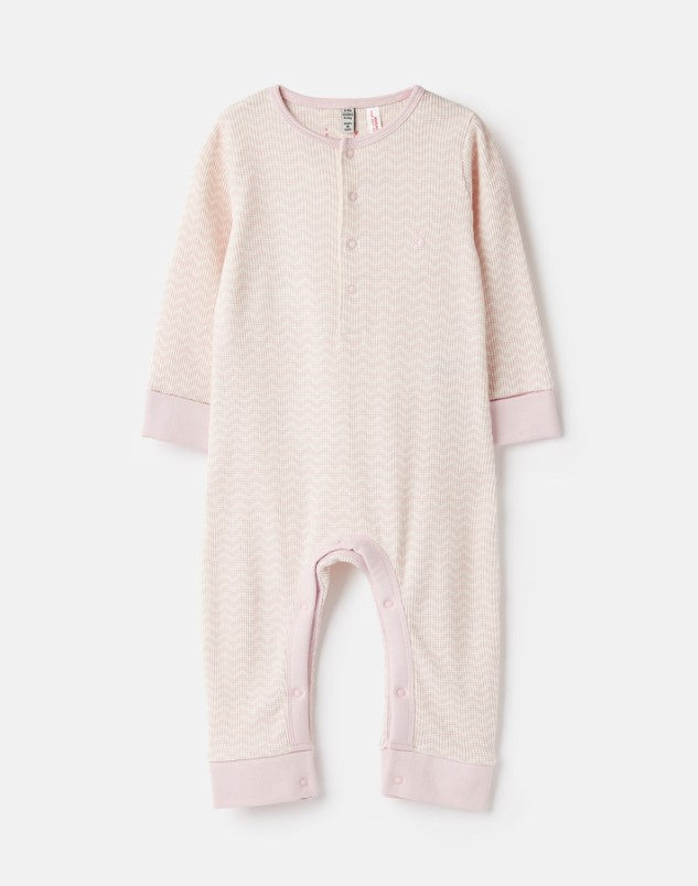 Joules, Baby Girl Apparel - Rompers,  Joules Peepa Pink Cream Zigzag Waffle Romper
