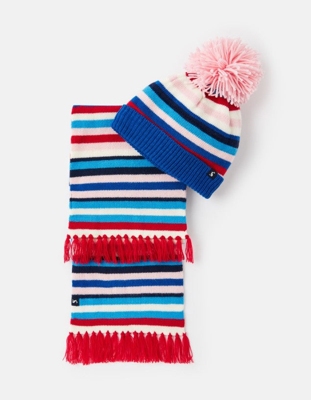 Joules Snowy Multi Stripe Hat and Scarf Set