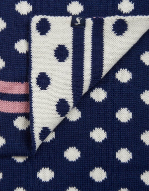 Joules Snowy Navy Spot Hat and Scarf Set