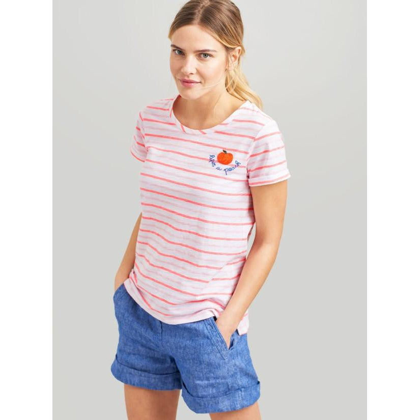 Joules, Women - Shirts & Tops,  Joules Nessa Pink Stripe Embroidered Lightweight Jersey T-Shirt