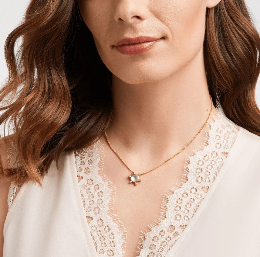 Julie Vos, Accessories - Jewelry,  Julie Vos - Cosmo Solitaire Necklace Gold Iridescent Clear Crystal