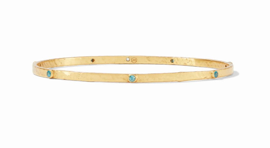 Julie Vos, Accessories - Jewelry,  Julie Vos - Crescent Bangle Gold Pacific Blue CZ
