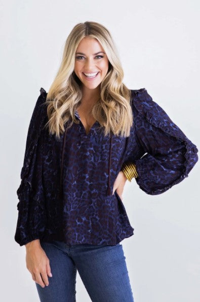 Karlie, Women - Shirts & Tops,  Leopard Ruffle V-Neck Top