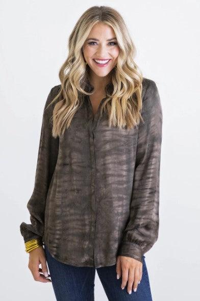 Karlie, Women - Shirts & Tops,  Brown Tie Dye Button Down Top