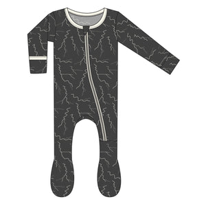 KicKee Pants, Baby Boy Apparel - Pajamas,  Kickee Pants - Print Footie with Zipper - Zebra Lightning
