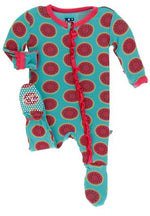 KicKee Pants, Baby Girl Apparel - Pajamas,  KicKee Pants - Print Muffin Ruffle Footie - Neptune Watermelon